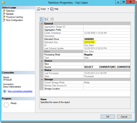 1 Partition Properties Fact Sales Unsorted