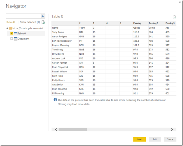 Get data from web with Power BI Desktop