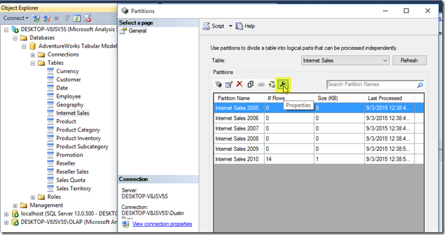 Find the SSAS Tabular partition ID