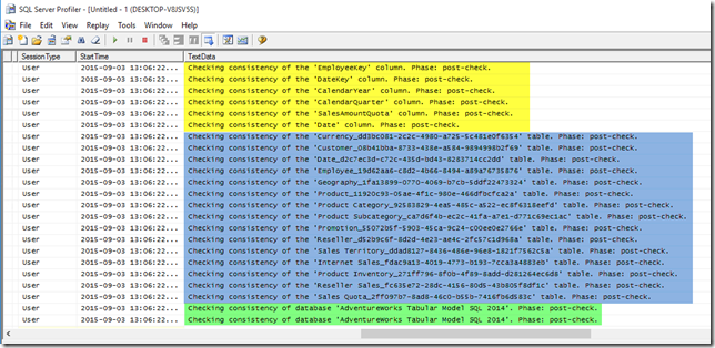 SSAS Tabular Profiler trace DBCC