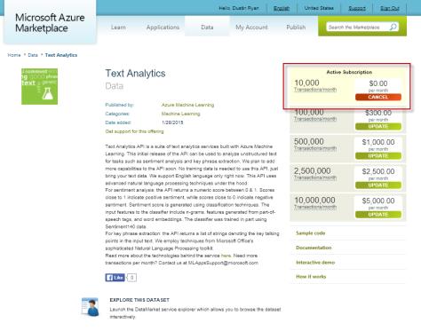 Text Analytics API subscribe