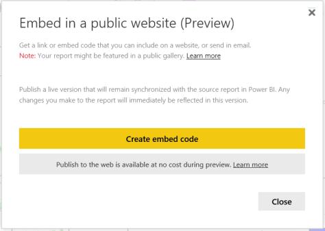 Power BI publish to web preview