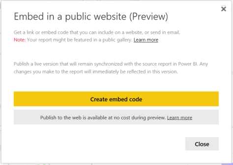 Power BI publish to web preview