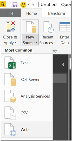 Power BI web source