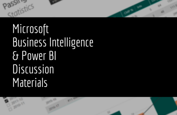 Microsoft Business Intelligence Materials from Discussion at Jacksonville University
