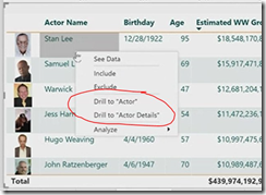 Drill through action in Power BI